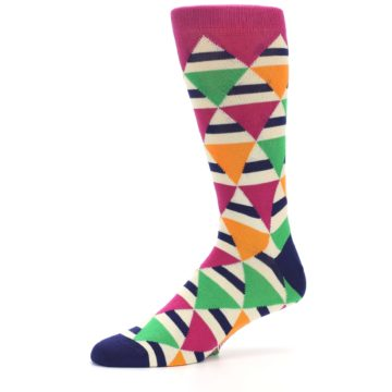 Image of Pink Green Orange Triangles Men's Dress Socks (side-2-10)
