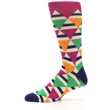 Image of Pink Green Orange Triangles Men's Dress Socks (side-2-11)