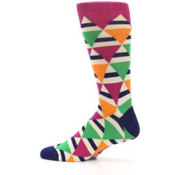 Image of Pink Green Orange Triangles Men's Dress Socks (side-2-12)