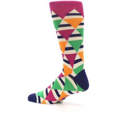 Image of Pink Green Orange Triangles Men's Dress Socks (side-2-13)