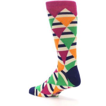 Image of Pink Green Orange Triangles Men's Dress Socks (side-2-back-14)