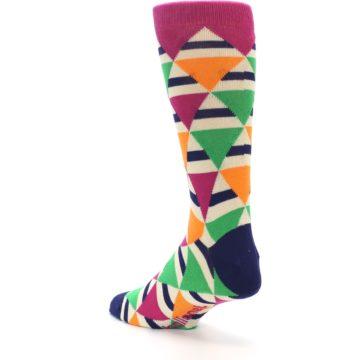 Image of Pink Green Orange Triangles Men's Dress Socks (side-2-back-15)