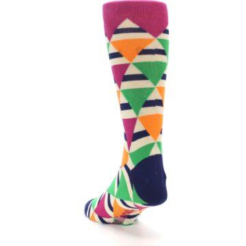 Image of Pink Green Orange Triangles Men's Dress Socks (side-2-back-16)
