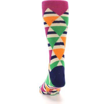 Image of Pink Green Orange Triangles Men's Dress Socks (back-17)