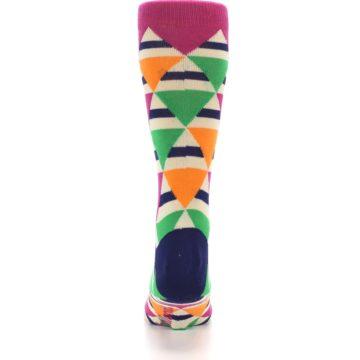 Image of Pink Green Orange Triangles Men's Dress Socks (back-18)