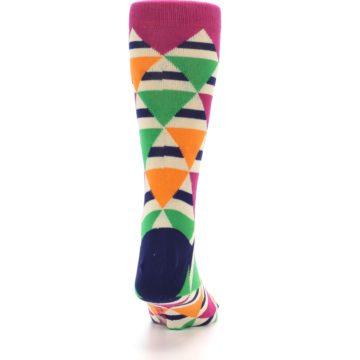 Image of Pink Green Orange Triangles Men's Dress Socks (back-19)