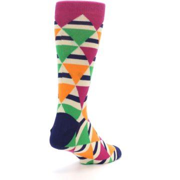 Image of Pink Green Orange Triangles Men's Dress Socks (side-1-back-21)