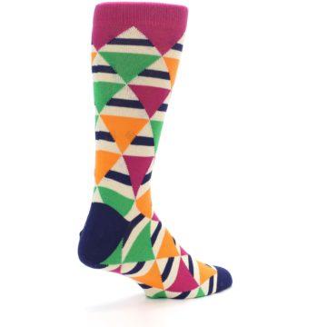 Image of Pink Green Orange Triangles Men's Dress Socks (side-1-back-22)