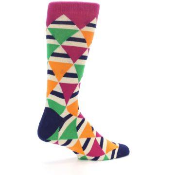 Image of Pink Green Orange Triangles Men's Dress Socks (side-1-23)