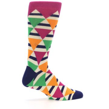 Image of Pink Green Orange Triangles Men's Dress Socks (side-1-24)
