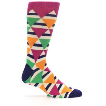 Image of Pink Green Orange Triangles Men's Dress Socks (side-1-25)