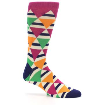 Image of Pink Green Orange Triangles Men's Dress Socks (side-1-26)