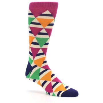 Image of Pink Green Orange Triangles Men's Dress Socks (side-1-27)