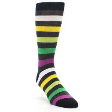 Image of Grey Green Purple Stripe Men's Dress Socks (side-1-front-02)