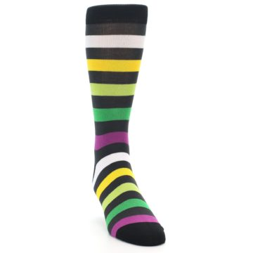 Image of Grey Green Purple Stripe Men's Dress Socks (side-1-front-03)