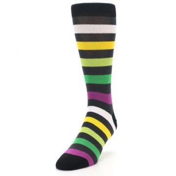 Image of Grey Green Purple Stripe Men's Dress Socks (side-2-front-07)