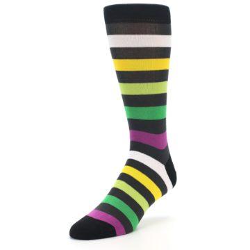 Image of Grey Green Purple Stripe Men's Dress Socks (side-2-front-08)