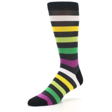 Image of Grey Green Purple Stripe Men's Dress Socks (side-2-09)