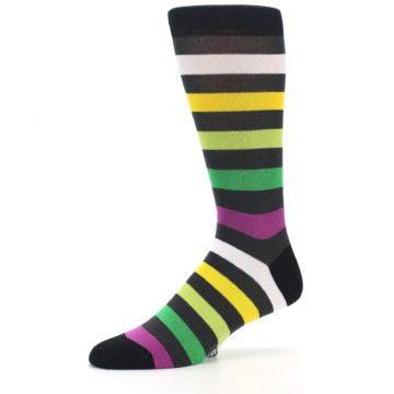 Image of Grey Green Purple Stripe Men's Dress Socks (side-2-10)