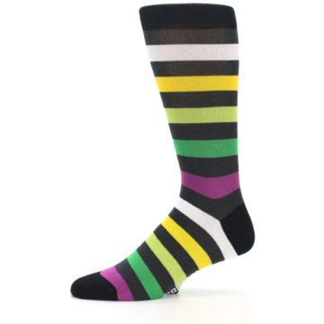 Image of Grey Green Purple Stripe Men's Dress Socks (side-2-11)