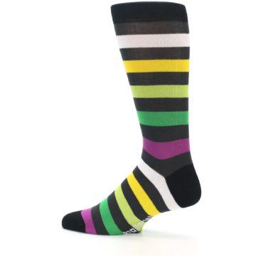 Image of Grey Green Purple Stripe Men's Dress Socks (side-2-13)
