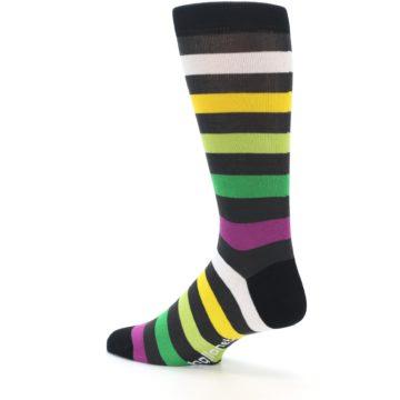 Image of Grey Green Purple Stripe Men's Dress Socks (side-2-back-14)