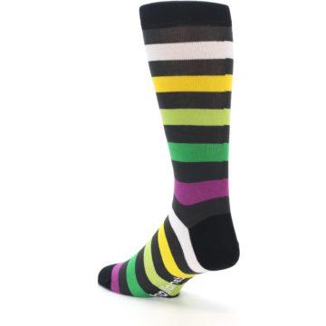 Image of Grey Green Purple Stripe Men's Dress Socks (side-2-back-15)