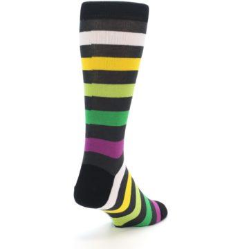 Image of Grey Green Purple Stripe Men's Dress Socks (side-1-back-21)