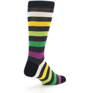 Image of Grey Green Purple Stripe Men's Dress Socks (side-1-back-22)