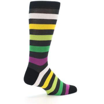 Image of Grey Green Purple Stripe Men's Dress Socks (side-1-23)