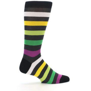 Image of Grey Green Purple Stripe Men's Dress Socks (side-1-24)