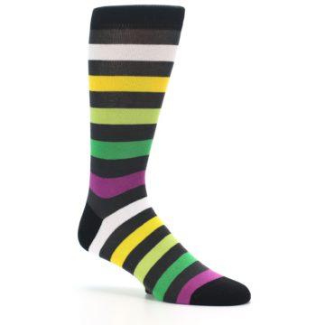 Image of Grey Green Purple Stripe Men's Dress Socks (side-1-26)