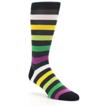Image of Grey Green Purple Stripe Men's Dress Socks (side-1-27)