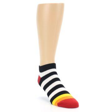 Image of Black White Stripe Men's Ankle Socks (side-1-front-02)