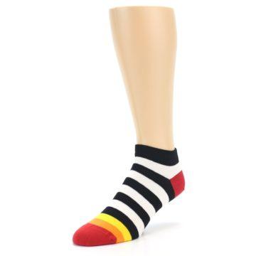 Image of Black White Stripe Men's Ankle Socks (side-2-front-08)