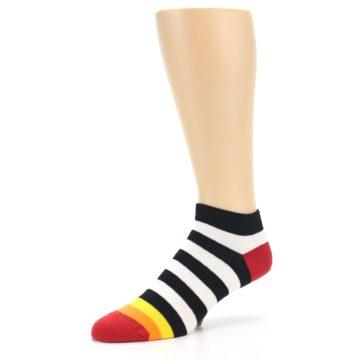 Image of Black White Stripe Men's Ankle Socks (side-2-09)