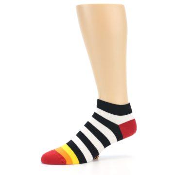 Image of Black White Stripe Men's Ankle Socks (side-2-10)