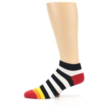 Image of Black White Stripe Men's Ankle Socks (side-2-11)