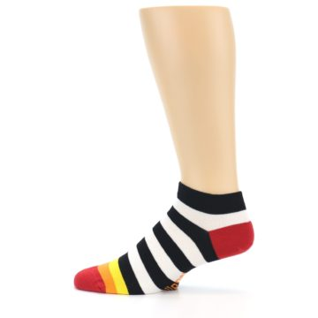 Image of Black White Stripe Men's Ankle Socks (side-2-12)