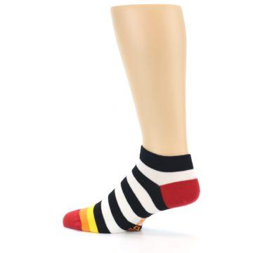 Image of Black White Stripe Men's Ankle Socks (side-2-13)