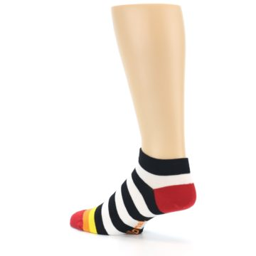 Image of Black White Stripe Men's Ankle Socks (side-2-back-14)