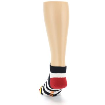 Image of Black White Stripe Men's Ankle Socks (back-17)