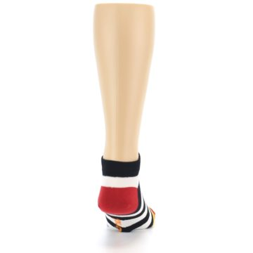 Image of Black White Stripe Men's Ankle Socks (back-19)