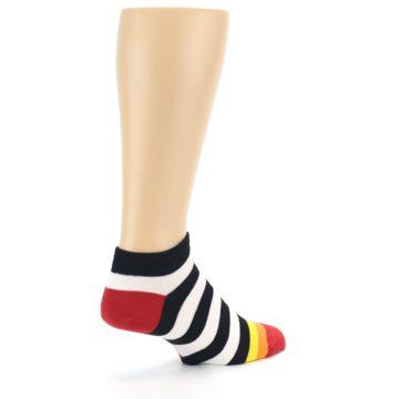 Image of Black White Stripe Men's Ankle Socks (side-1-back-22)