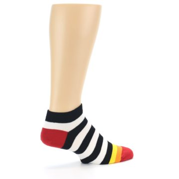 Image of Black White Stripe Men's Ankle Socks (side-1-23)