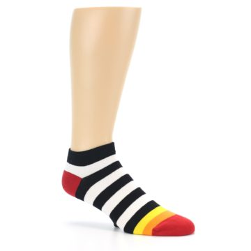 Image of Black White Stripe Men's Ankle Socks (side-1-26)