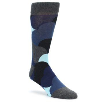 Image of Blue Grey Black Circles Men's Dress Socks (side-1-front-01)