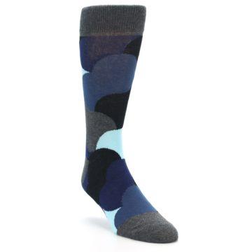 Image of Blue Grey Black Circles Men's Dress Socks (side-1-front-02)