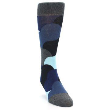 Image of Blue Grey Black Circles Men's Dress Socks (side-1-front-03)