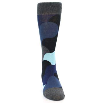 Image of Blue Grey Black Circles Men's Dress Socks (front-04)